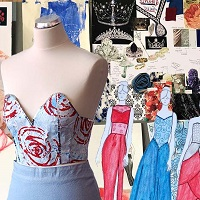collage of designs, material and models dummy
